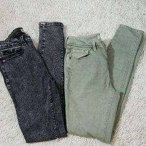 2 PAIRS Bullhead high rise skinniest jeans sz 5